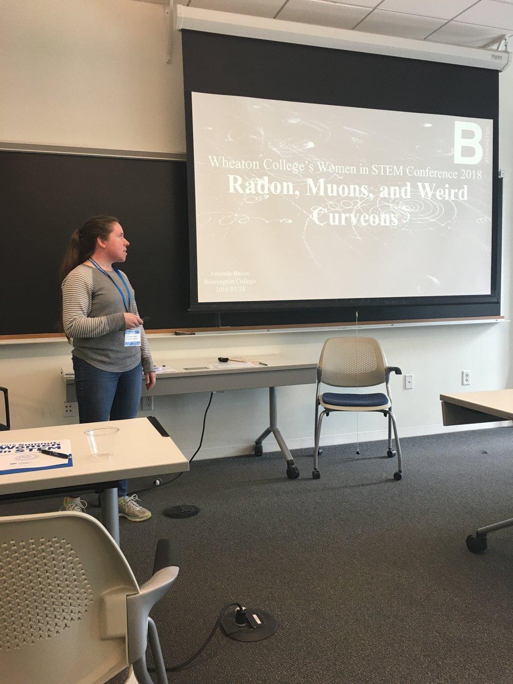 Amanda Bacon, '19, gives a physics presentation.