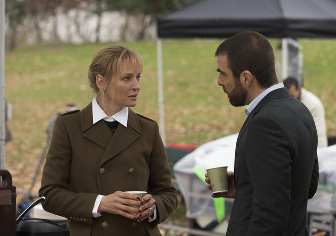 "Uma Thurman and Zachary Quinto in ""The Slap."""