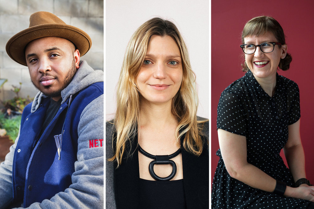 From left, the directors Justin Simien, Sara Colangelo and Kat Candler, all of whom made their feature festival debut at Sundance in 2014.    CreditFrom left: Oriana Koren for The New York Times; Dustin Chambers for The New York Times; Tamir Kalifa for The New York Times