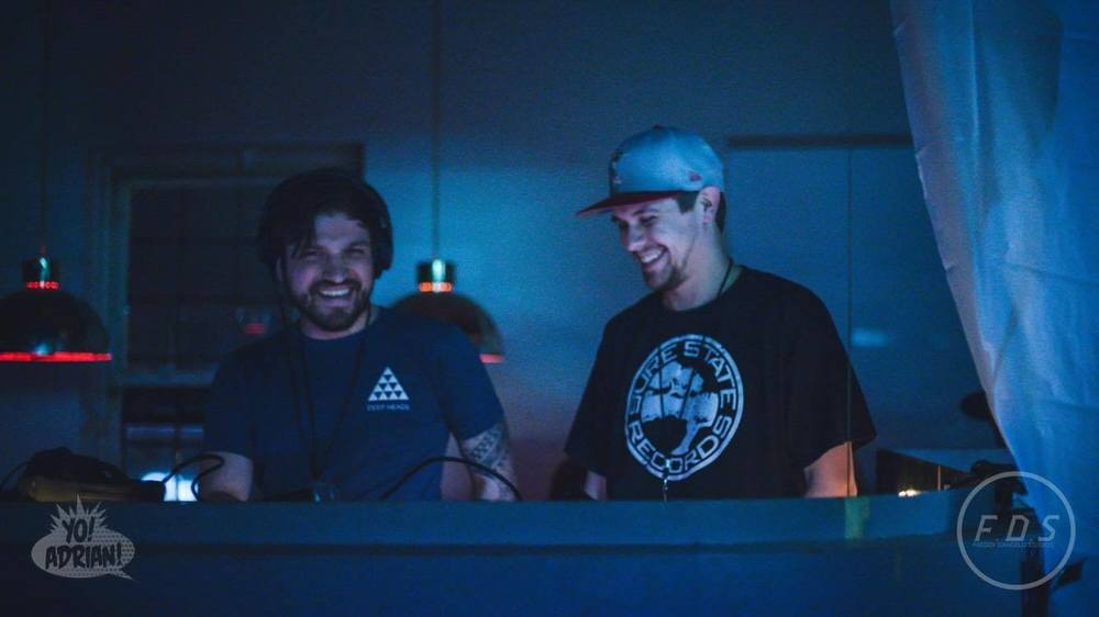 Rolando Ramiro, left, Co-Founder/ Manager of Silent Motion, at the decks with Justin Cox, right, founder of Sure State Records.