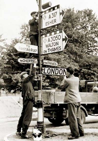 Road signs could help an invading enemy so they were removed.