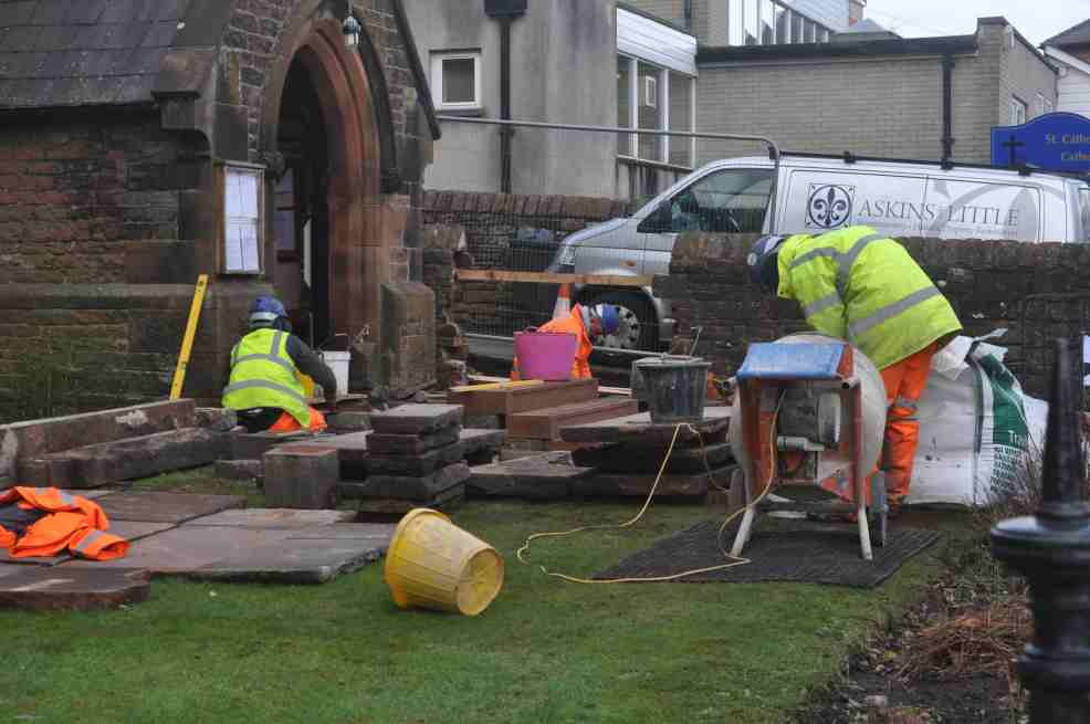 Work starts to make a disabled access at the main door of St Catherine's.