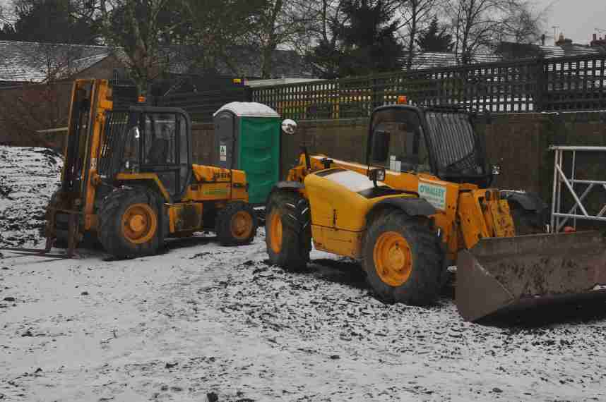 Diggers in the snow, January 2013