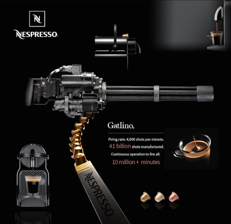 Nespresso firing machine gun