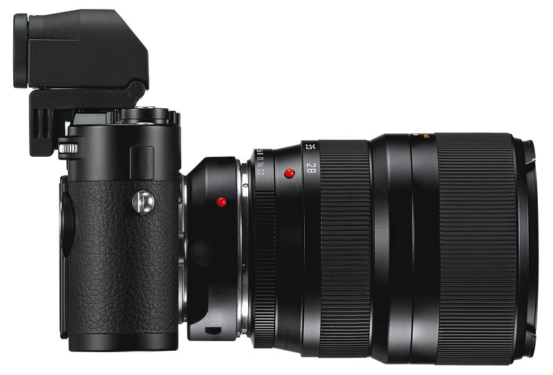 Leica M240 with EVF-2 Electronic Viewfinder and R lens adapter with R 28-70mm lens mounted