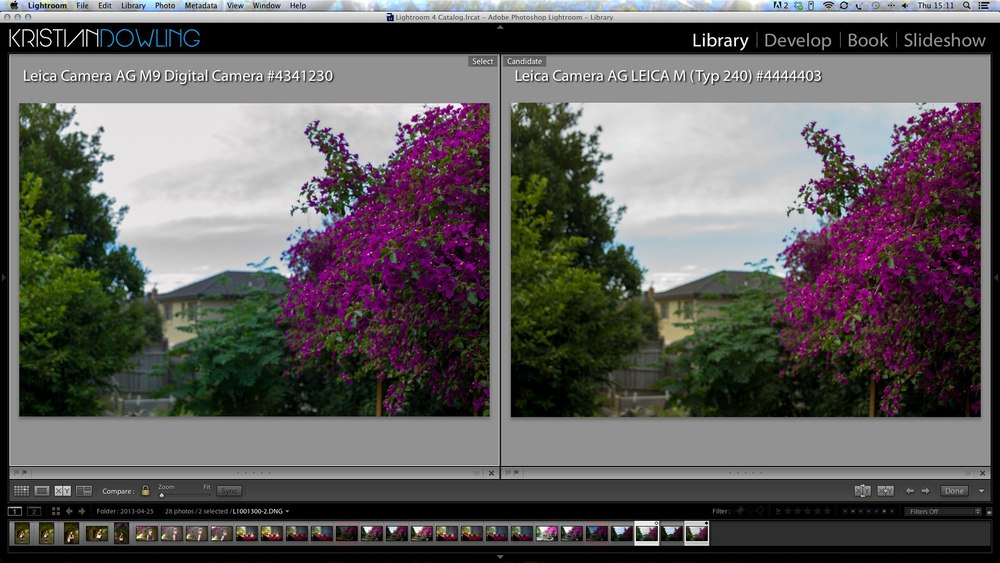 Both set to ISO 200 and daylight in camera. Both at 1/500sec at 2.8. Lightroom settings: Exposure -1.45, Highlights -51, Shadows +51, Whites +9, blacks -17. See the blue still retained in the sky on the M240. M9 is lost, even with a bluer color temperature.