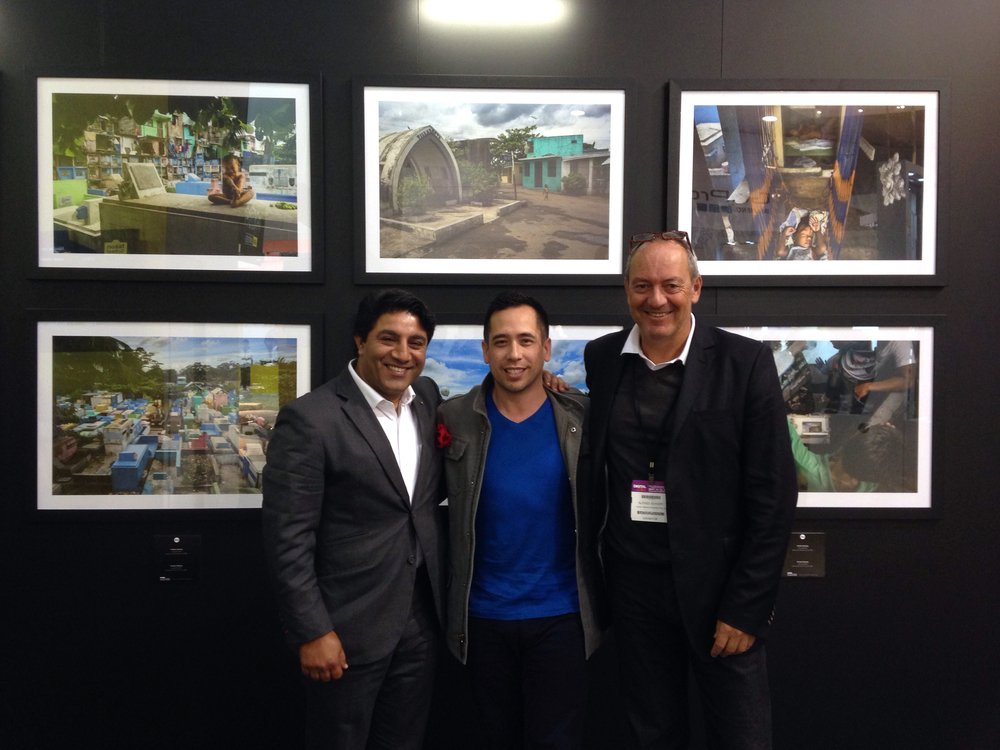 Standing in front of my 6 exhibition pictures with Sunil (left) and Alfred (right)