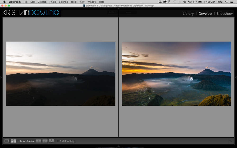 Before and after quick edit in Lightroom