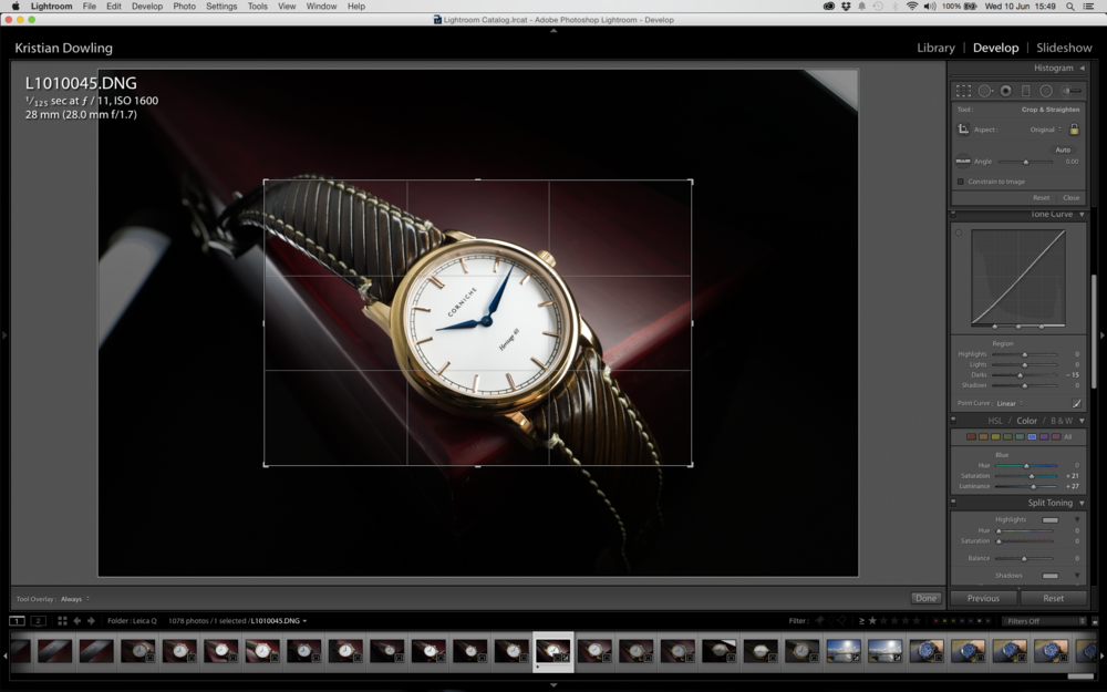 50mm crop mode option selected in-camera and displayed in Lightroom