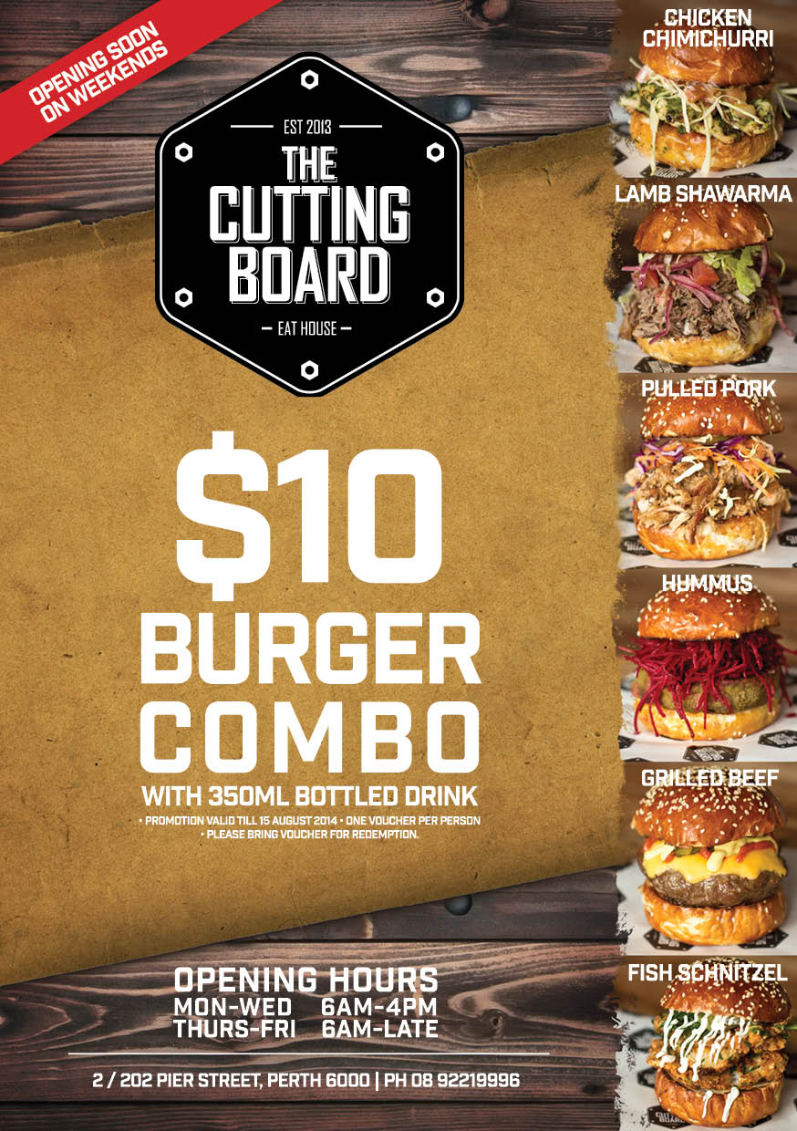 Promotional flyer for the new burger range @ The Cutting Board Eat House in Northbridge