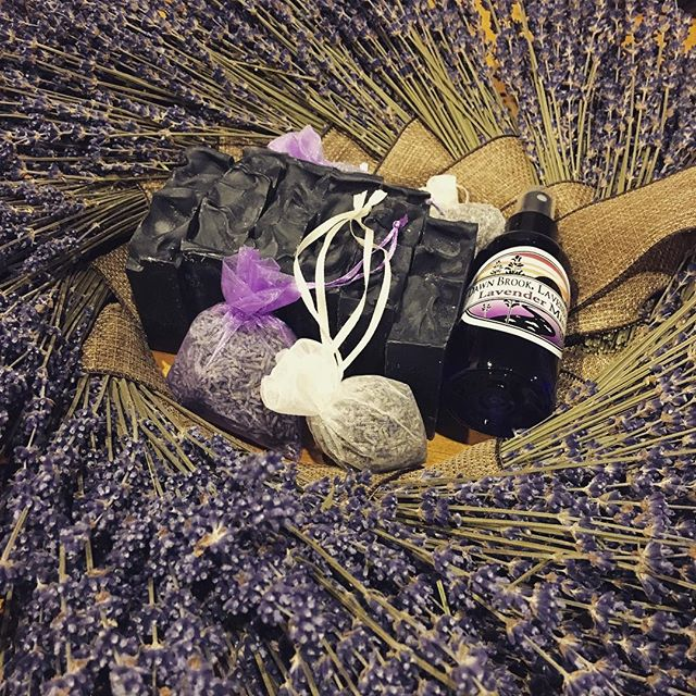 Prepping gift bags for a girls night in! Lavender Charcoal Soap, lavender sachets, lavender spray and a lavender wreath! #lavendereverything #lavender #spaday #charcoal