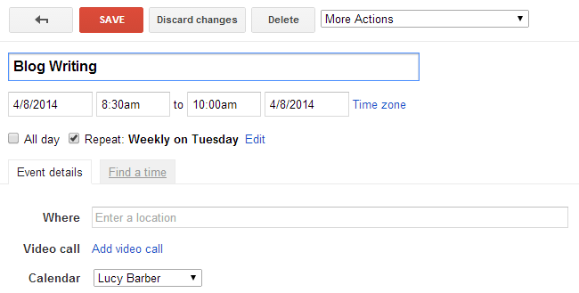 Scheduling in blog writing on Tuesday morning