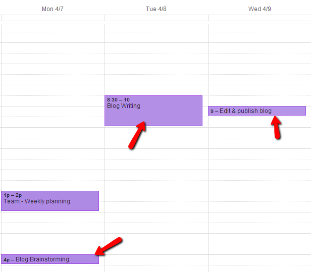 Full blog posting schedule