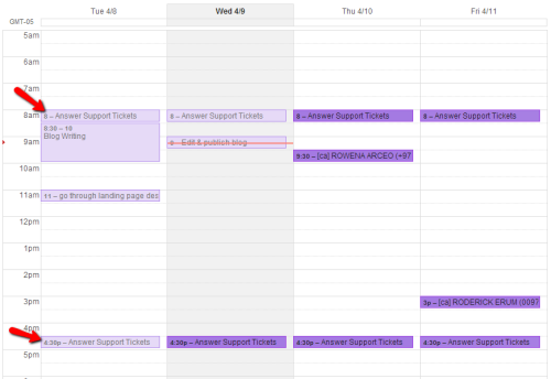 Scheduling in timeslots for answering support tickets