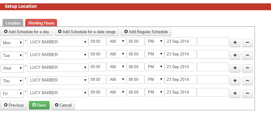 See the Working Hours for the Location