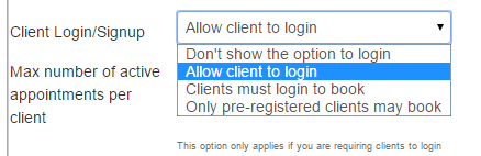 Client Login Options from within your checkAppointments account