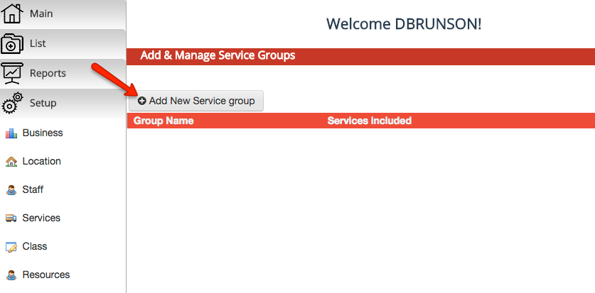 "Click the ""Add New Service group"" button"