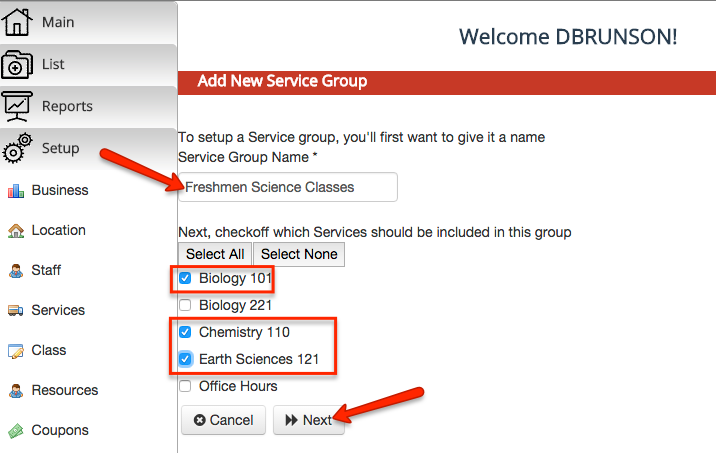 Add the name and classes for your new Service Group