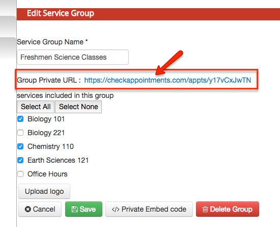 Click the Private URL link to open up the web scheduler that contains grouped classes