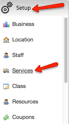 "Go to the ""Setup"" tab > ""Services"""
