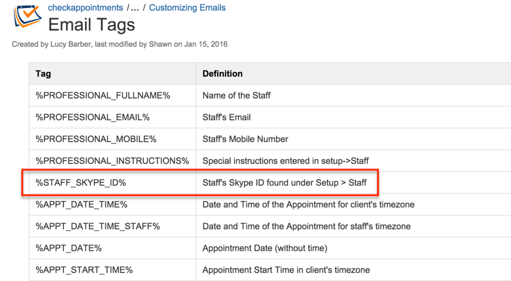 Show clients your Skype ID by adding and inserting the email tag in an email template