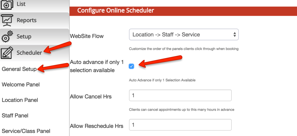 "Allow clients to advance through your scheduler with the ""Auto Advance"" feature"