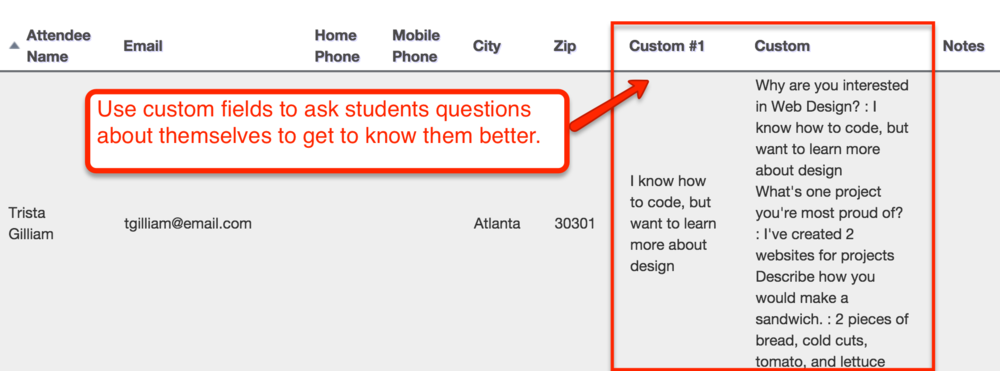 Use custom client information fields to learn more about your students