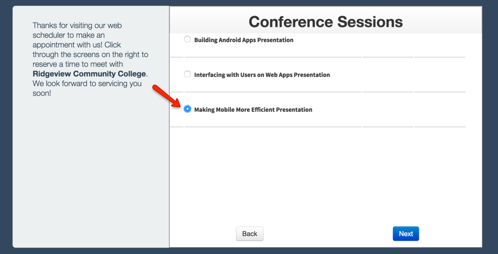 Conference presenters can select which session they want to give a presentation for
