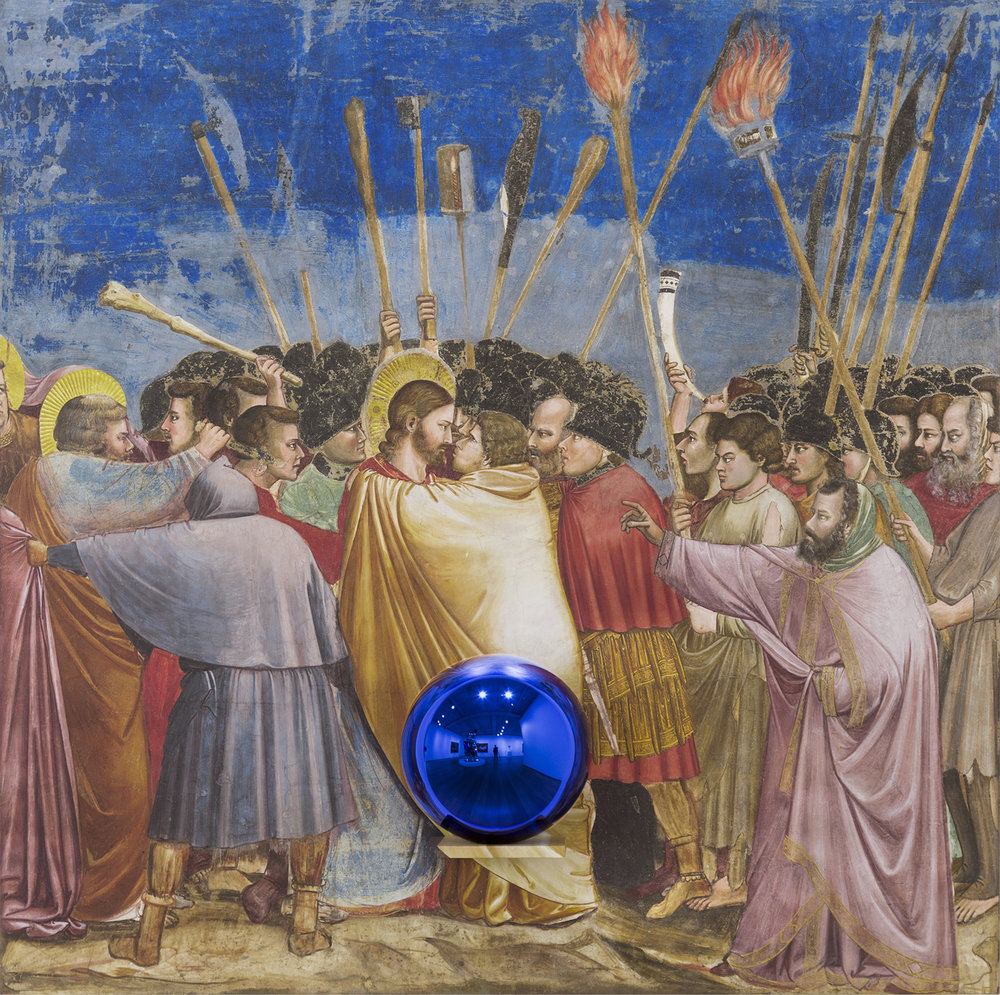 Jeff Koons Gazing Ball (Giotto The Kiss of Judas), 2015-2016 Oil on canvas, glass, and aluminum 65 1/2 x 65 x 14 3/4 inches (166.4 x 165.1 x 37.5 cm) © Jeff Koons. Courtesy David Zwirner, New York
