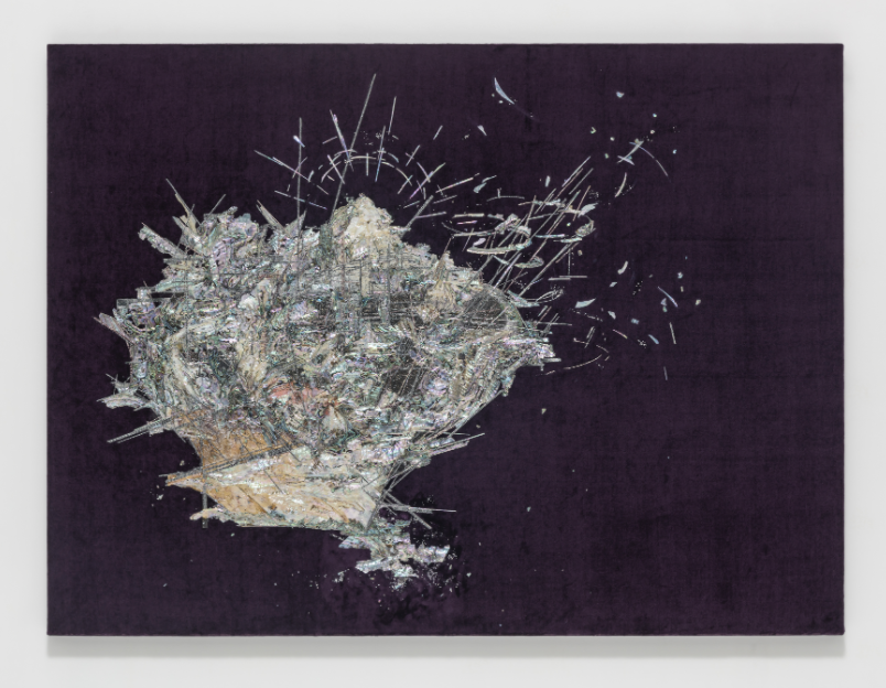 LEE BUL Untitled (Willing To Be Vulnerable - Velvet #8 DDRG10NB), 2017 mother of pearl, acrylic paint, acrylic panel, dried flower, pearl-printed self adhesive sheet, and collage on silk velvet 41.26 x 54.72 x 3.66 inches (framed) 104.8 x 139 x 9.3 cm Courtesy Studio Lee Bul and Lehmann Maupin, New York and Hong Kong LM26129