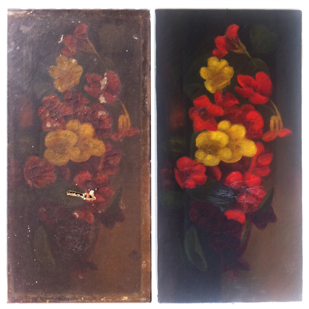 Mid 19th century oil still life restoration.