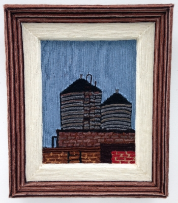 Water Tower Series II, 2001, yarn & wood, 20 x 22 inches
