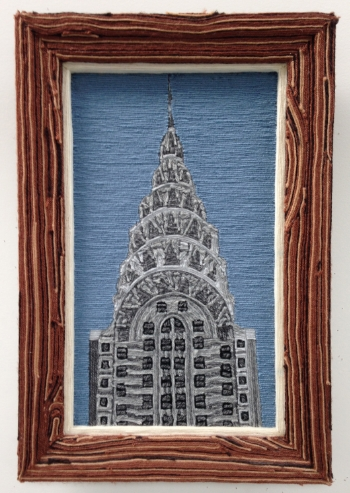 Chrysler Building, 2000, yarn & wood, 24 x 30 inches