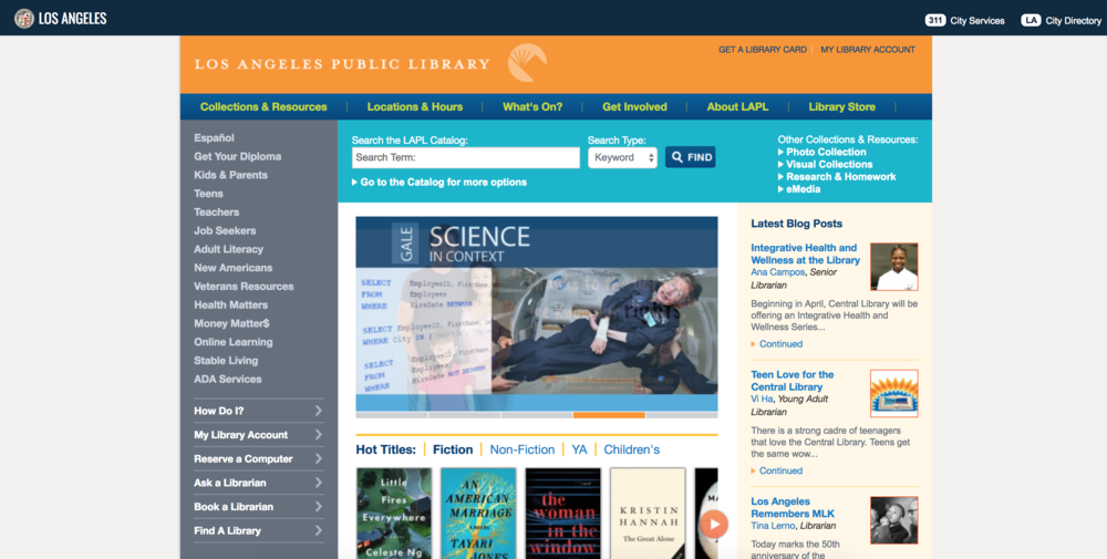 L.A. Public Library - The use of real estate in the header and nav was practical yet visually pleasing with a strong use of brand colors. We wanted to incorporate a site-wide search function in the BPL's header to find pages or titles rather than a long list of links in a sidebar.