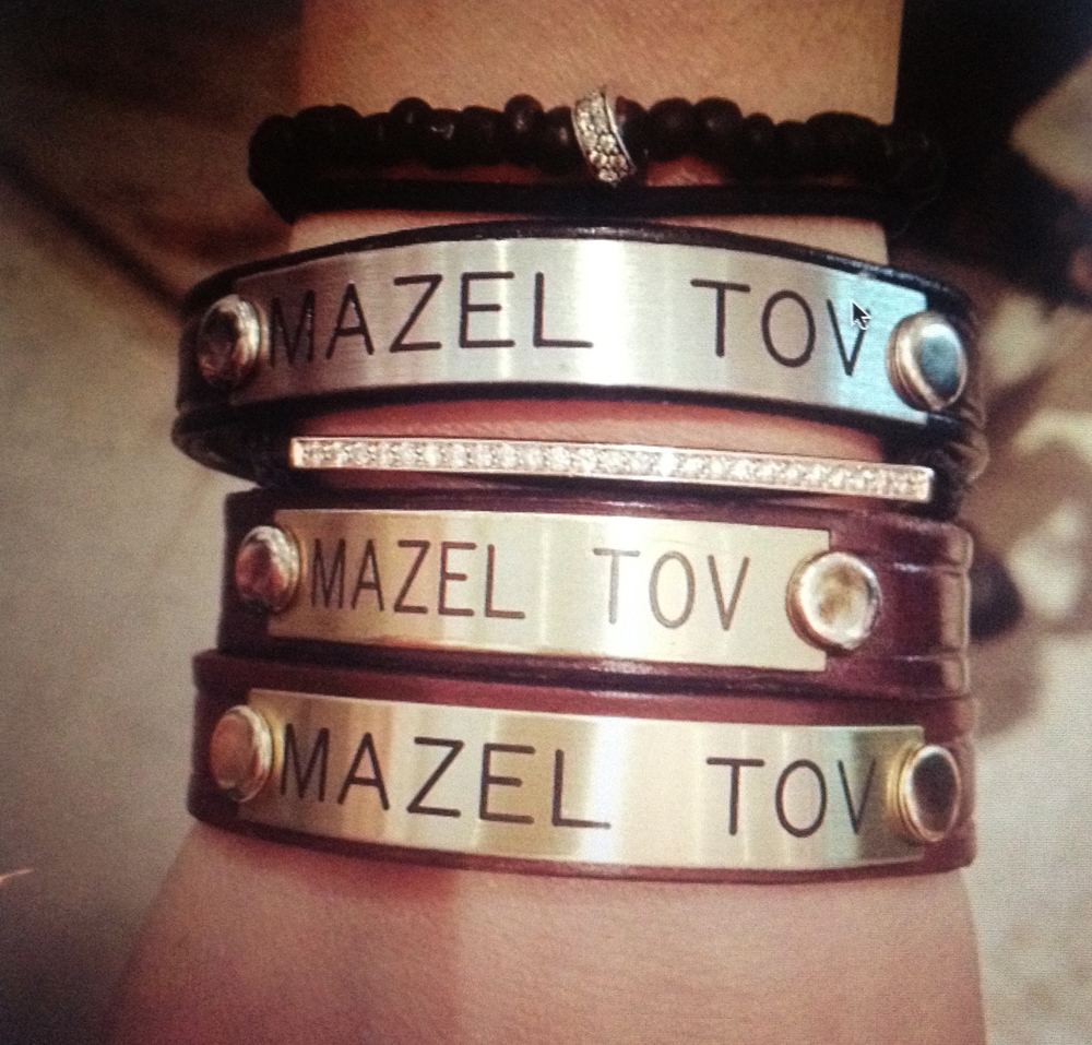 "SARA STRACEY ""MAZEL TOV"" BRACELET AVAILABLE AT: AmericanTwoShot.com"