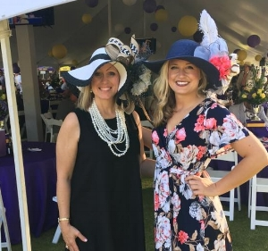 The beautiful and talented mother and daughter pair, Kay & Rachel Wammack wearing hats designed by David.