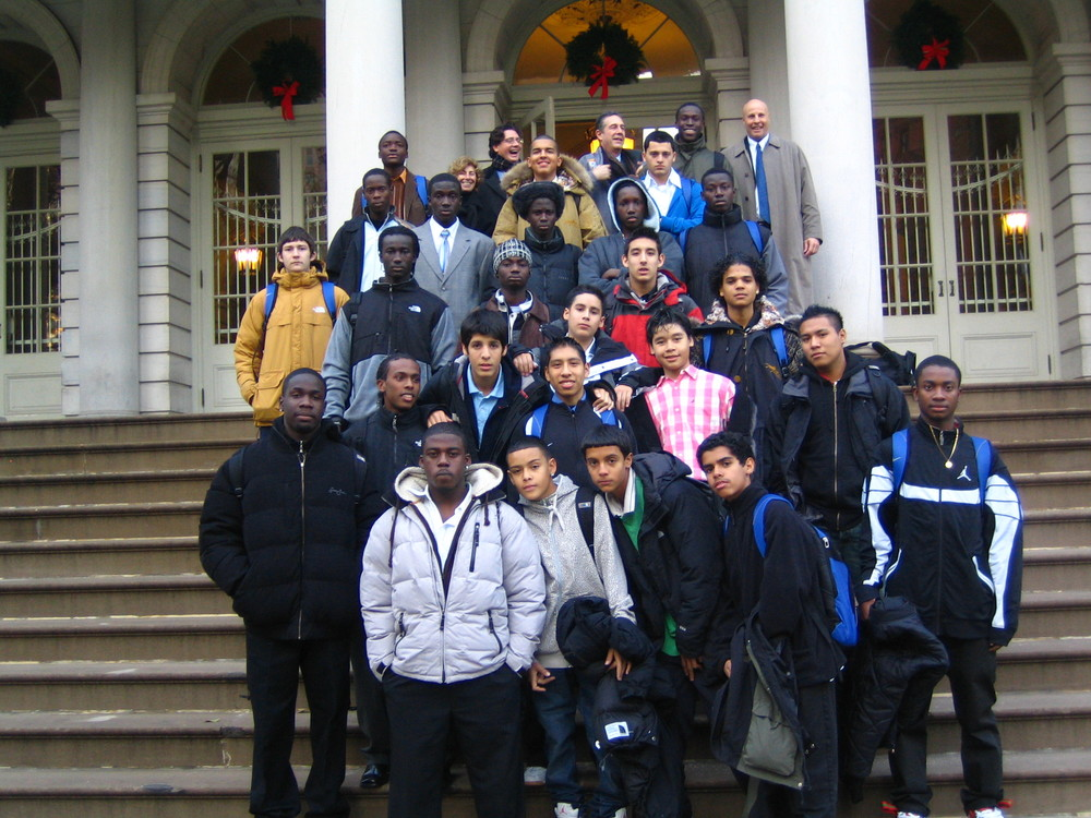 Martin Luther King, Jr. High School Soccer Team on the steps of NY City Hall.