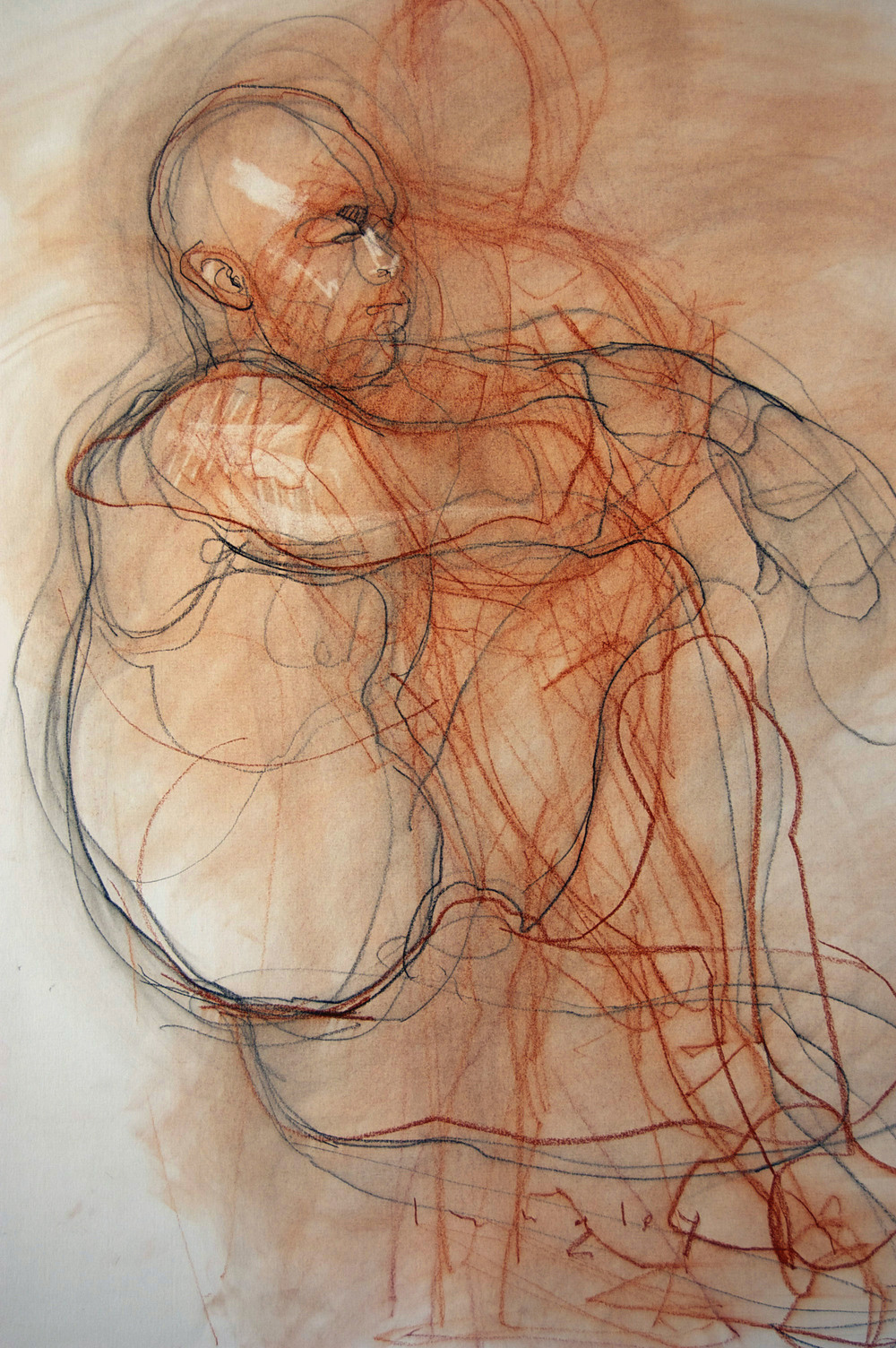 Seated male nude with elbow and knee locked / linear variation in red and black chalk, 18x24, 2010, Collection of the artist.
