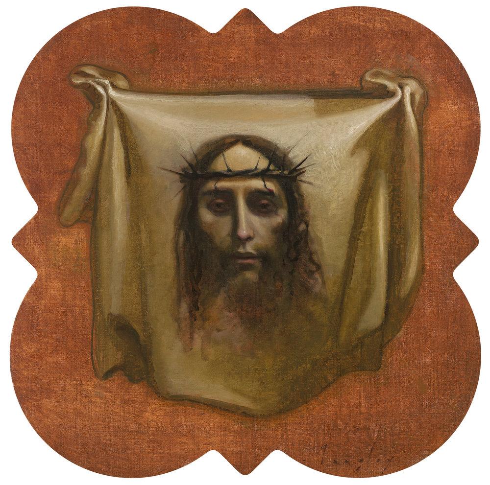 "Client: Father Doug Halsema, for St Paul Catholic Church, Pensacola Florida, Langley stations of the cross, 24""x24"" oil on quatrefoil panel."