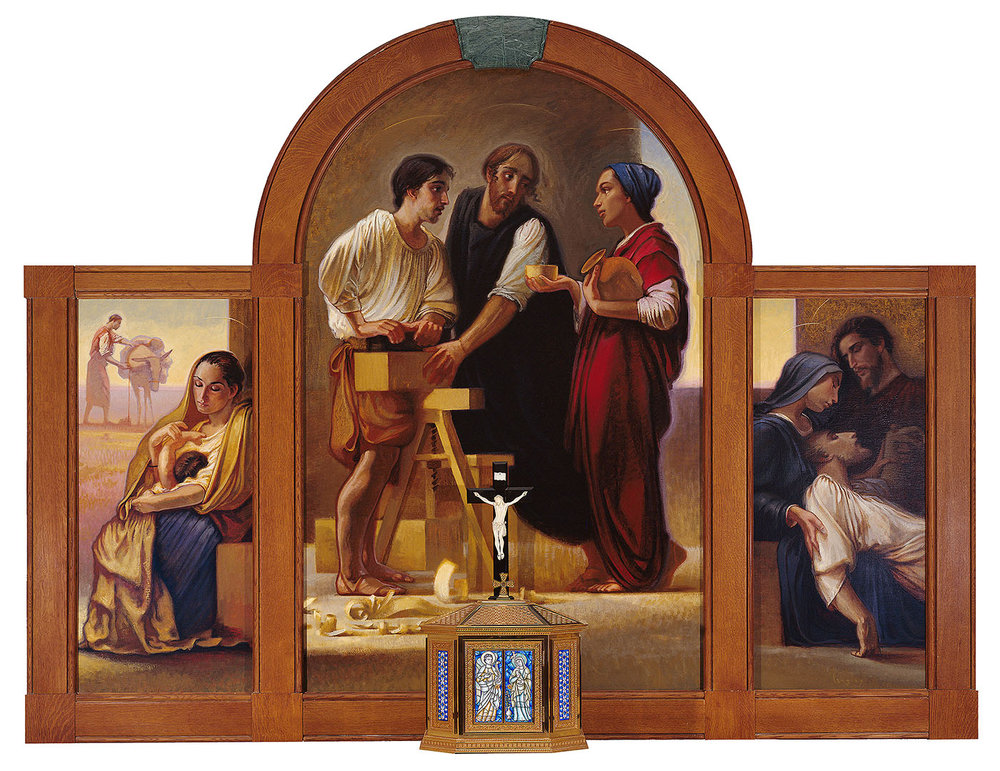 "Client: Opus Dei International  Commission: Altarpiece for Chapel at Murray Hill Place, New York, New York, Langley Triptych, oil on linen canvas 72""x96"""