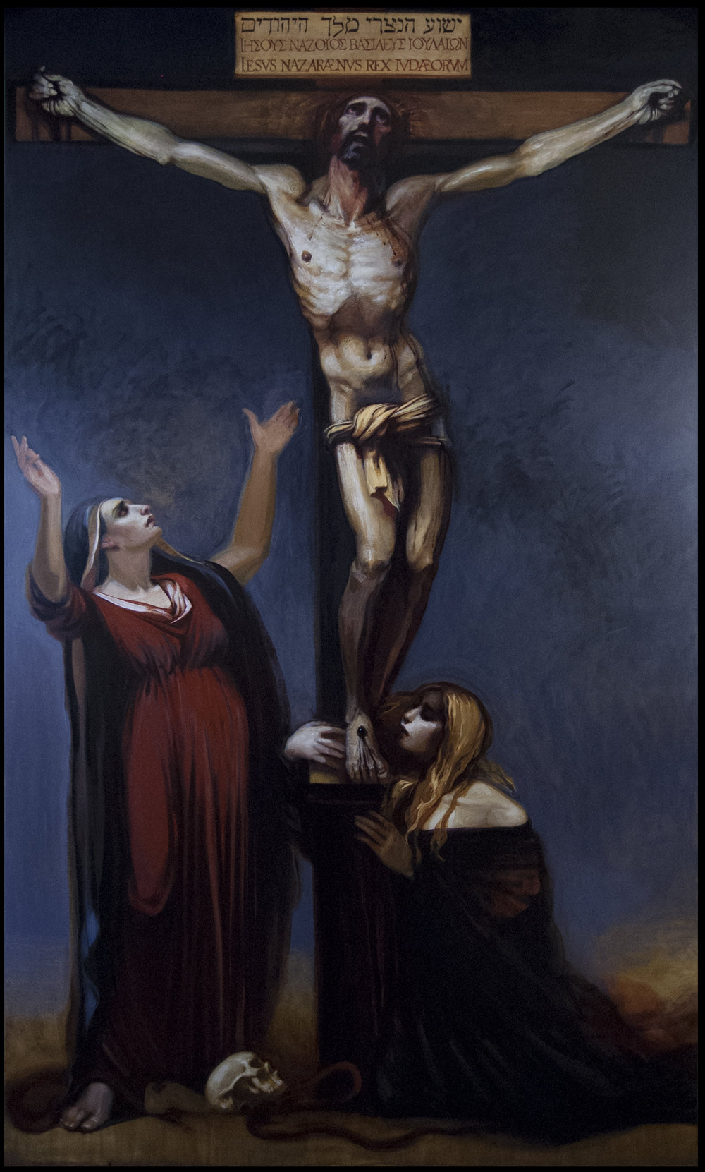 "Client: Bishop Robert Finn, Kansas City-St. Joseph, Mo., diocese.  Crucifixion with the Mother of Jesus and Mary Magdalene  - Langley oil on canvas 120""x72"""