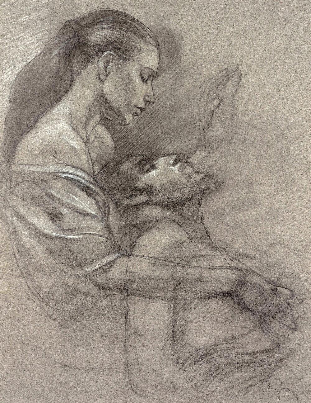 """Client: Collection of Steen Heidemann,  the Death of Joseph , Charcoal 24""""x18"""" Langley"""