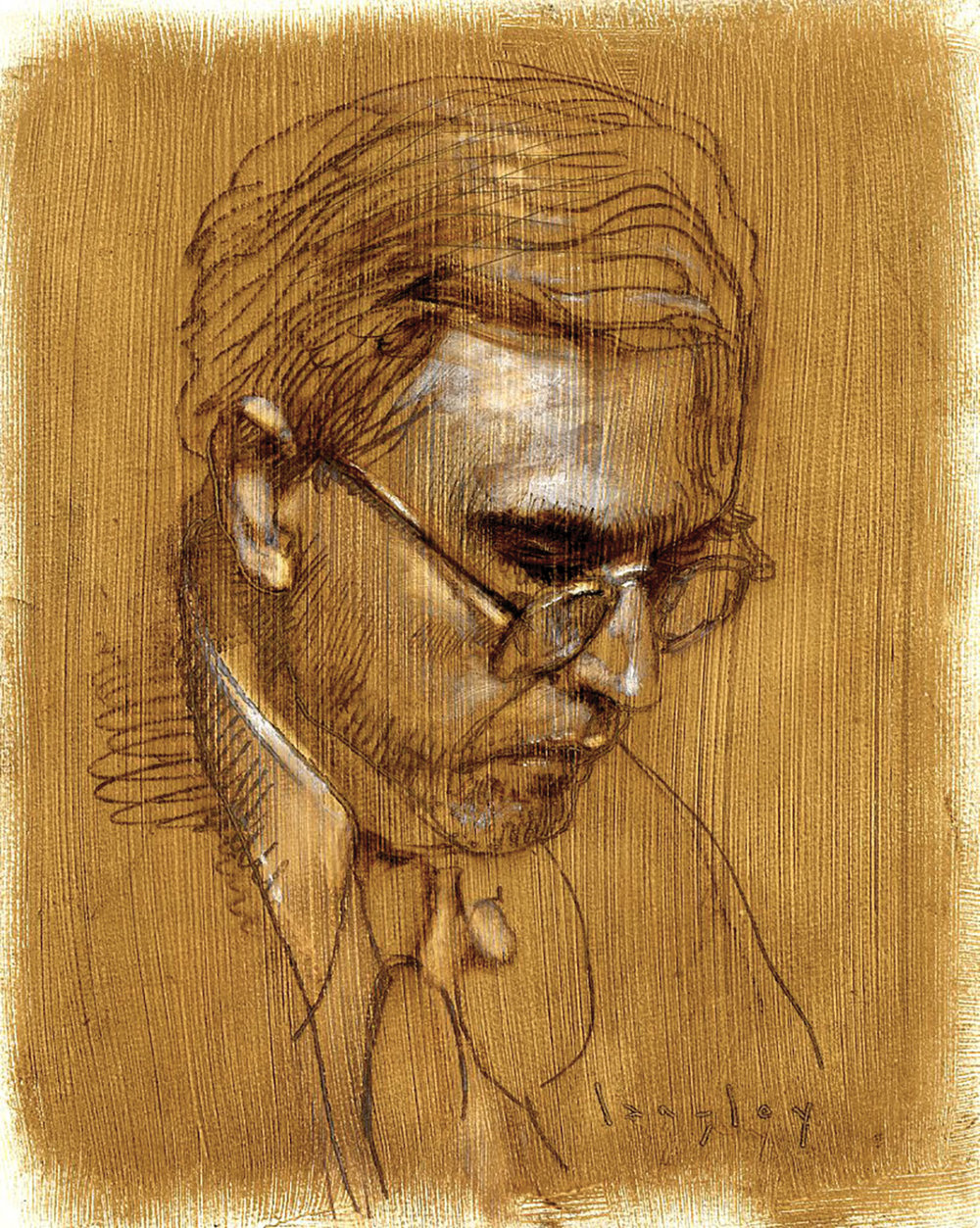 "Dietrich von Hildebrand, oil on paper 12""x9"" langley"