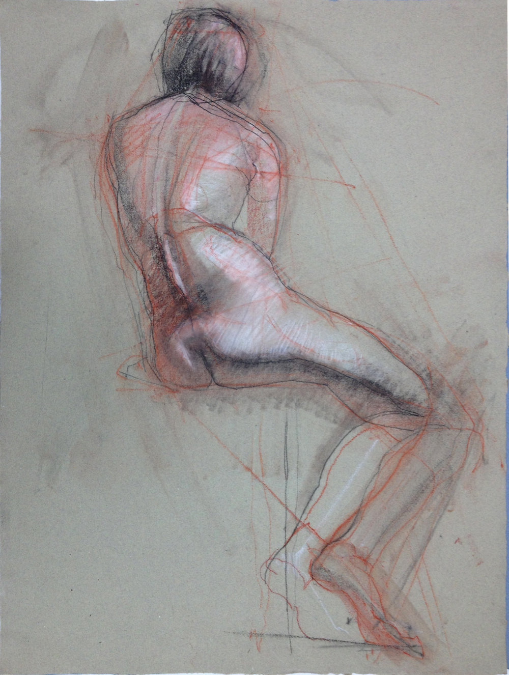 1 female figure seated posterior 3color etude 2015.jpg