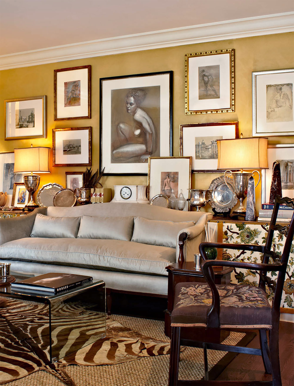 Client: Alice Henrick Interior Design, Provenance Interiors, Savannah.   Langley paintings for Alice Henrick,  Designer Showhouse at Inchalene , to benefit  Weymouth Center for the Arts & Humanities , Southern Pines, North Carolina.
