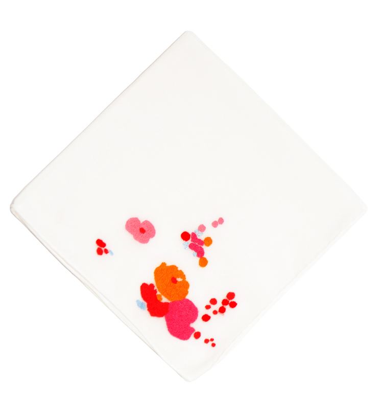 Demoiselles Pink Embroidered Handkerchief