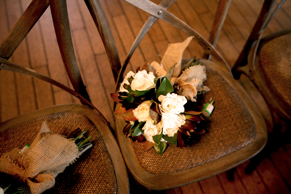 Bouquet and burlap