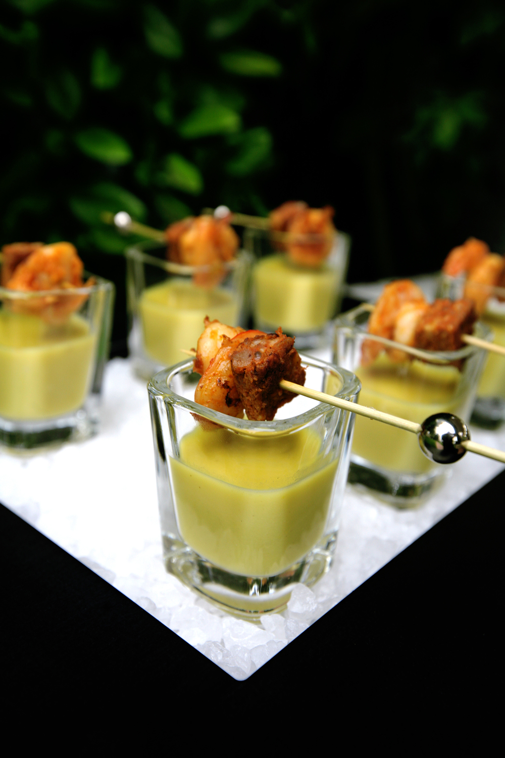 Sweet corn soup with shrimp and chorizo