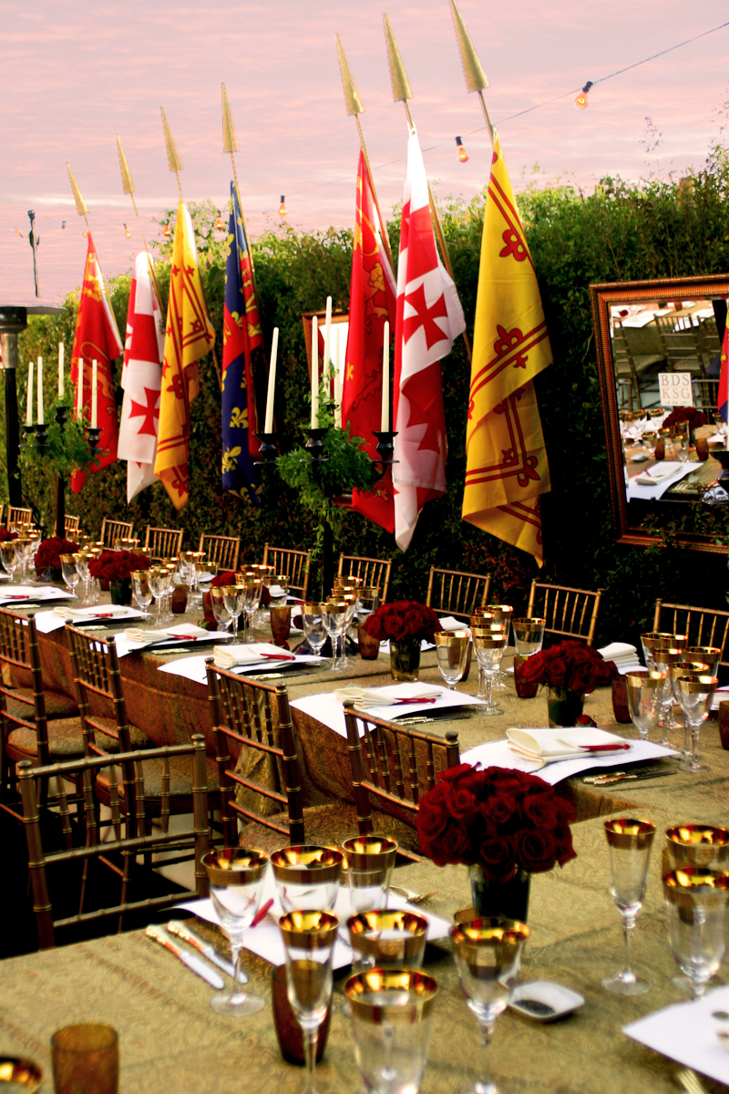 Flags from different European orders decorated the dining area