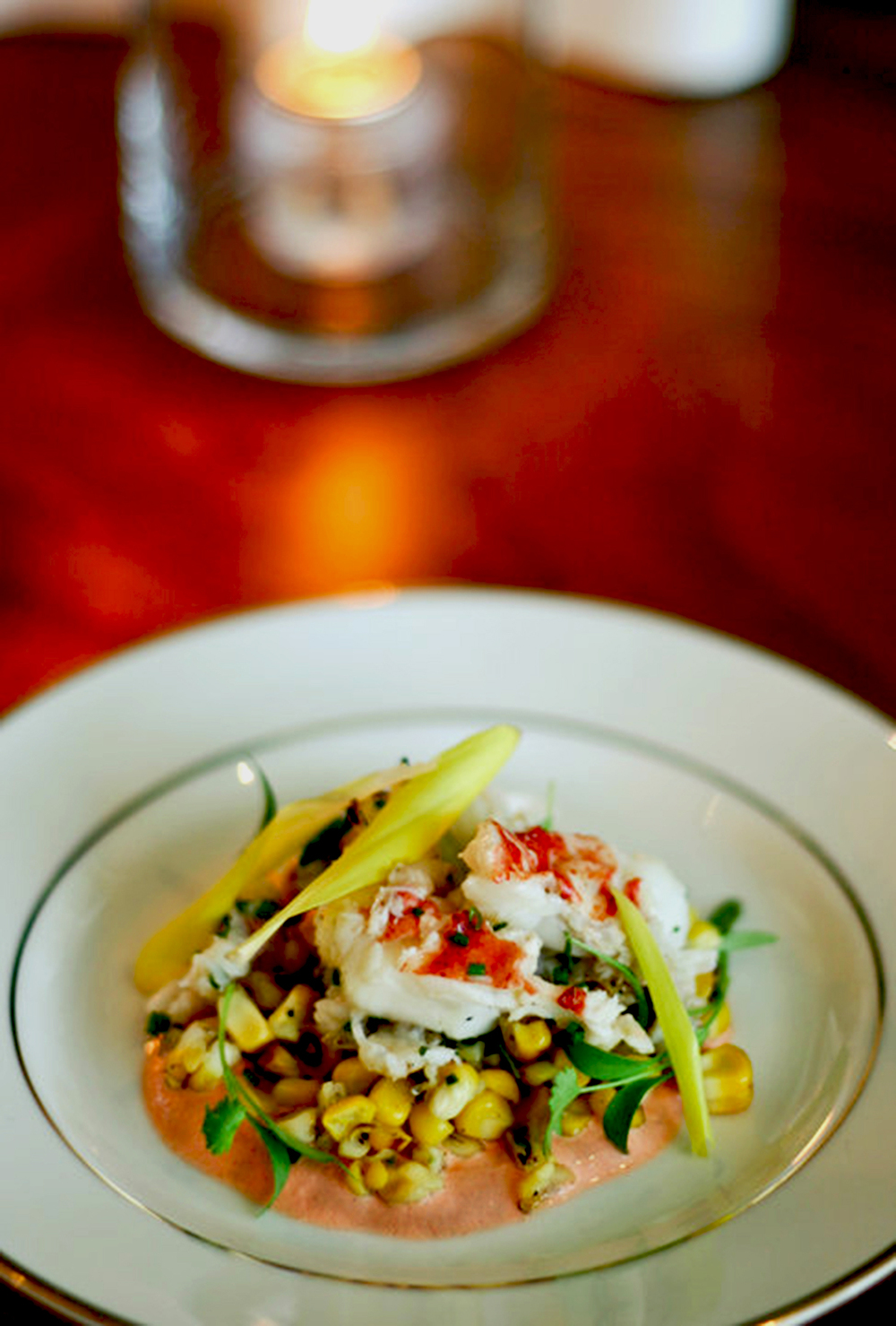 Lobster, grilled corn and red pepper salad